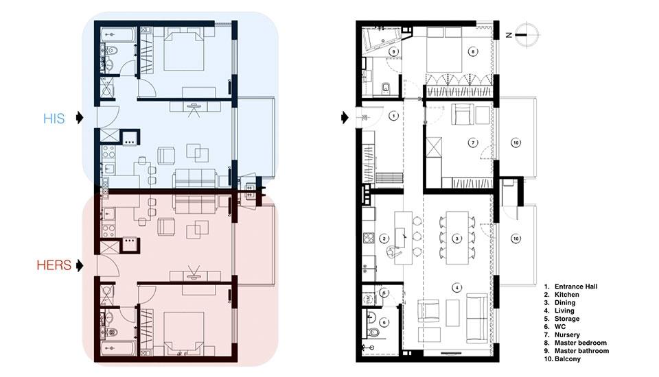 двама съседи се влюбват, обединени апартаменти в София_план