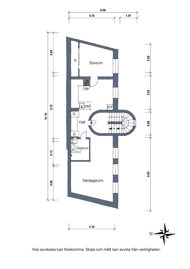 двустаен апартамент в скандинавски стил_план