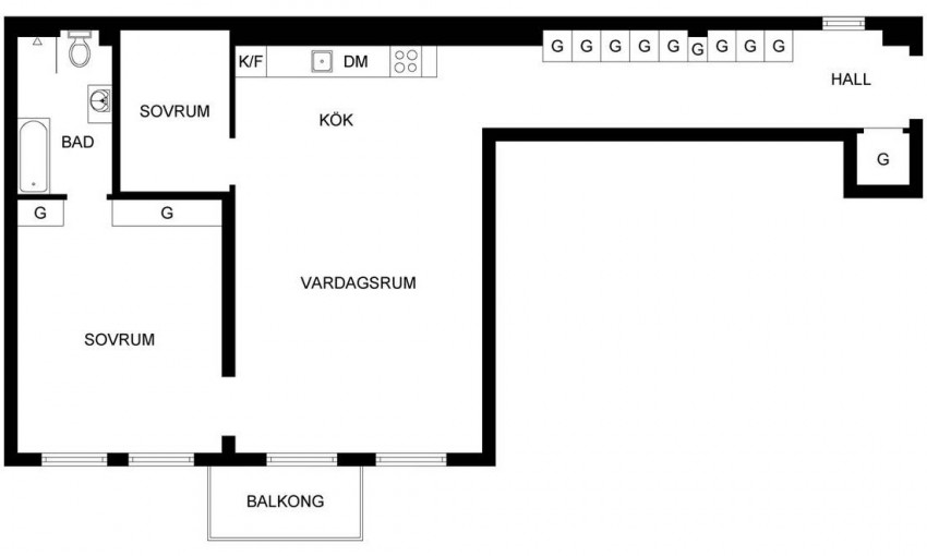 елегантен скандинавски апартамент 85 кв. м_план