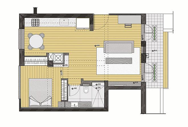 малък апартамент с много пространство_план след