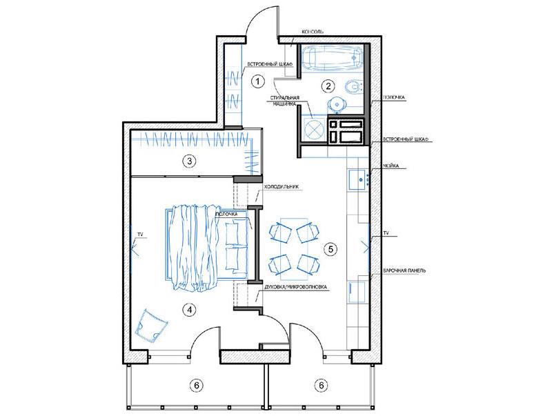 семпъл и стилен интериор със силни контрасти_план