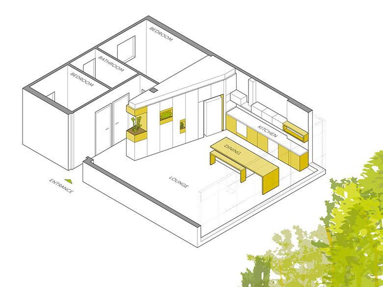 стена от шкафове разделя апартамента_план 1