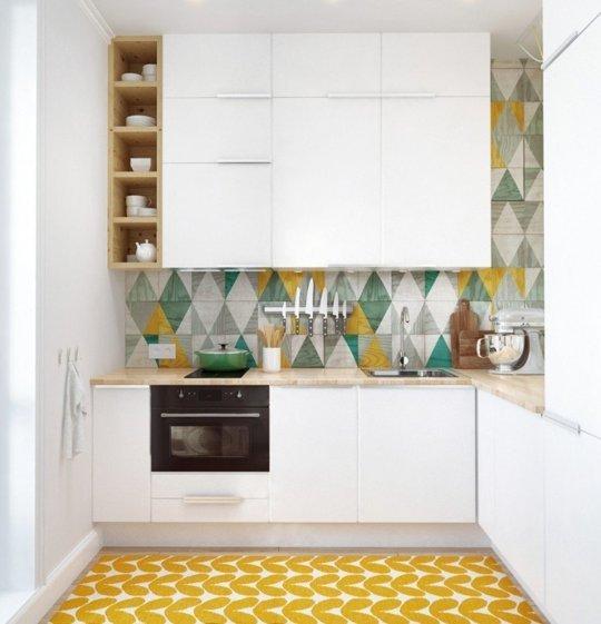 тясна етажерка в малка кухня