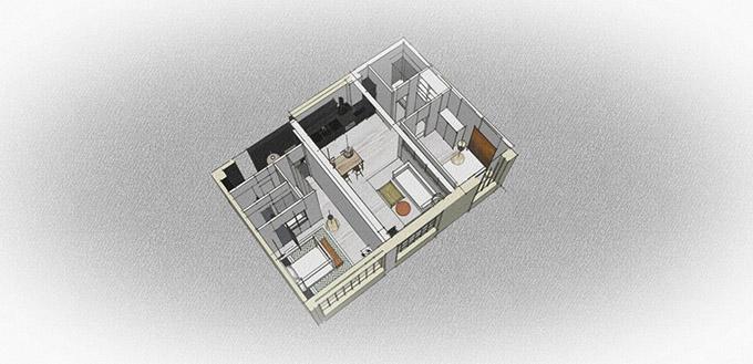 монохромен интериор на малко жилище_план