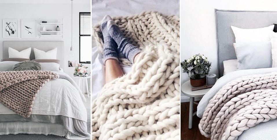 големи одеяла едра плетка мерино