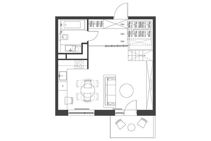 повдигната спалня малък 35 кв дом_план