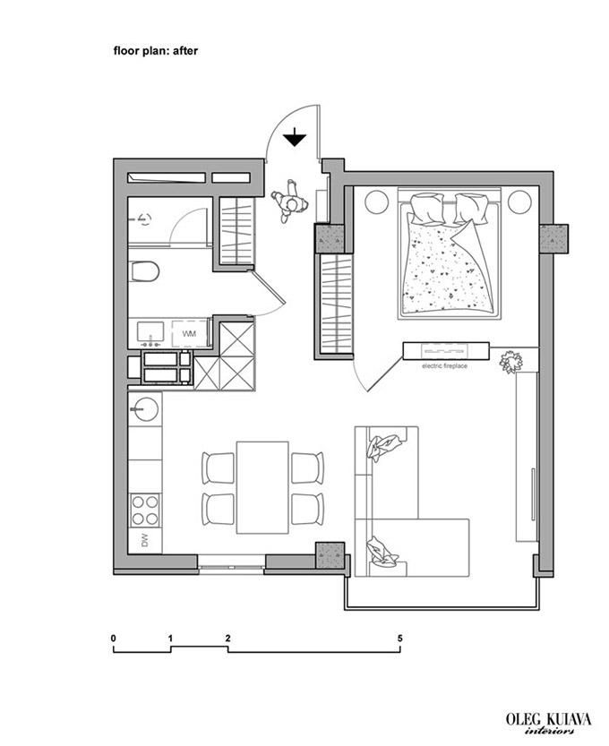 стилно малко жилище 48 кв. м_разпределение