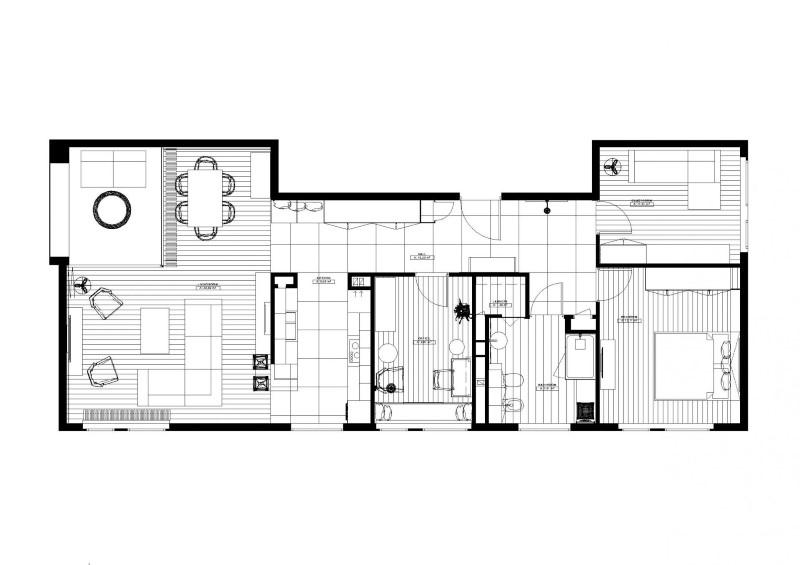 Стилен цветен интериор на апартамент_план