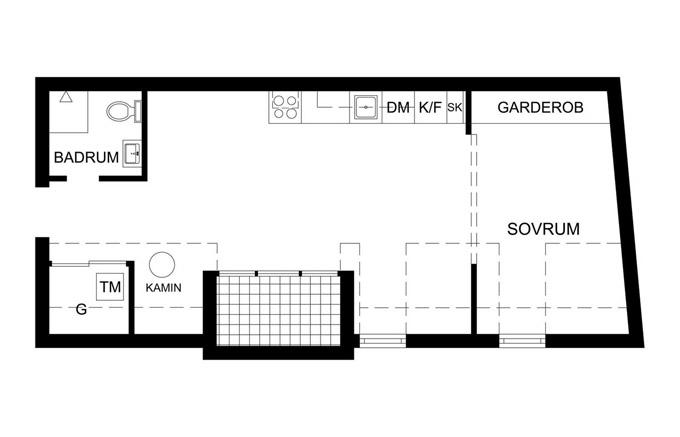 Стъклена преграда малък апартамент_plan