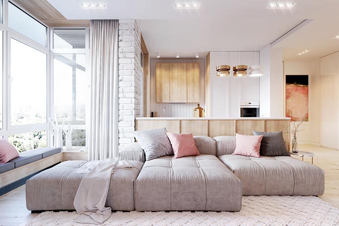 апартамент в розово и бяло