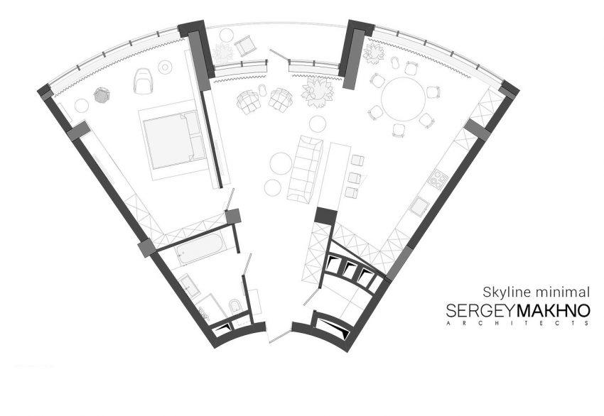 минималистичен апартамент силни контрасти зелено_план