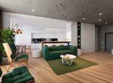 минималистичен апартамент силни контрасти зелено_1