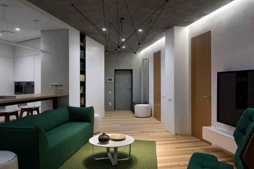 минималистичен апартамент силни контрасти зелено_2
