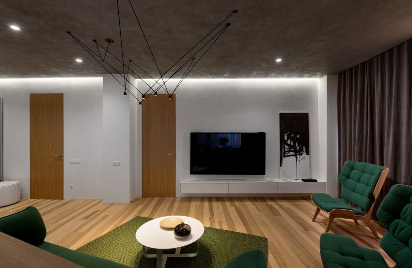 минималистичен апартамент силни контрасти зелено_3