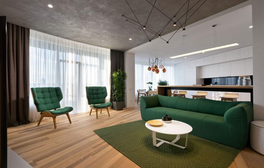 минималистичен апартамент силни контрасти зелено_4