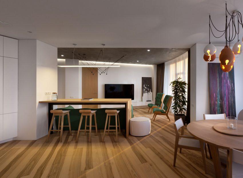 минималистичен апартамент силни контрасти зелено_5