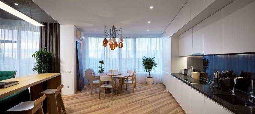 минималистичен апартамент силни контрасти зелено_6