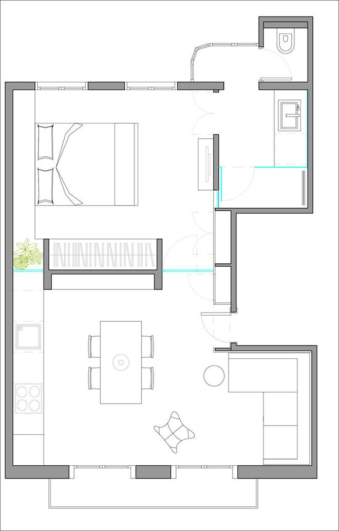 40 кв. м малък цветен апартамент в Барселона_план