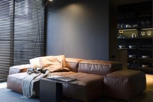 апартамент с тъмен, мъжки интериор