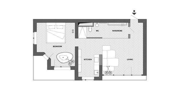 апартамент с тъмен, мъжки интериор_план