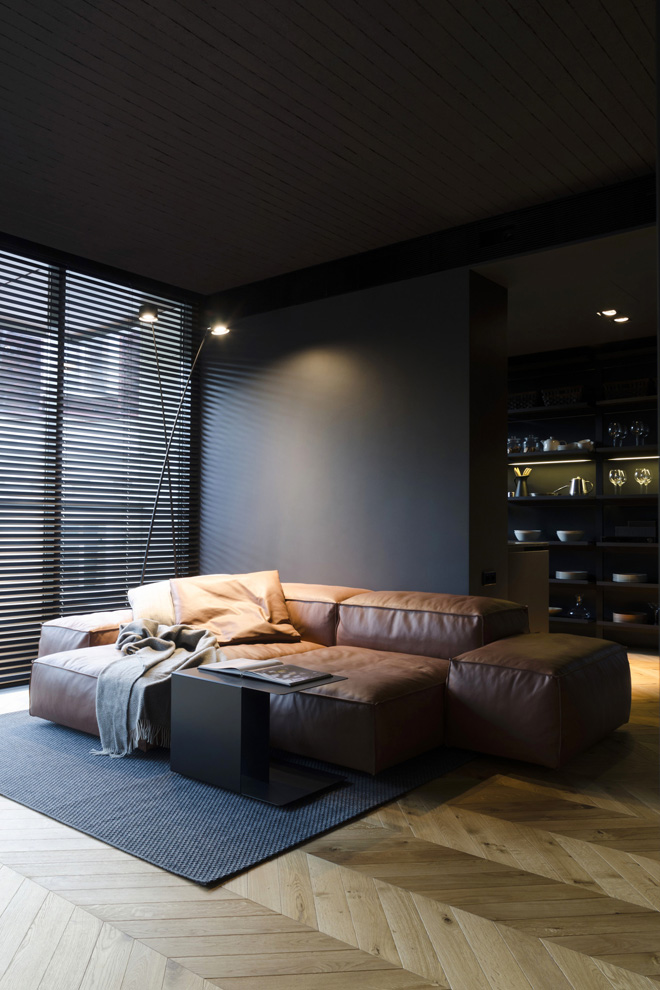 апартамент с тъмен, мъжки интериор_1