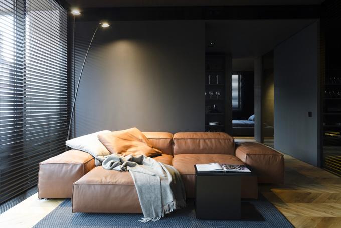 апартамент с тъмен, мъжки интериор_2