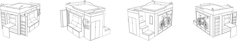 мултифункционален куб мини жилище_план