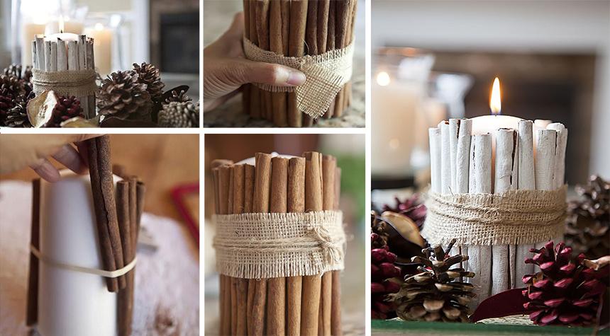коледни свещи канелени пръчици